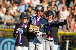 Podium Grade V, Hosmar Frank, NED, Wells Sophie, GBR, George Michel, BEL<br /> European Championship Para Dressage<br /> Rotterdam 2019<br /> © Hippo Foto - Dirk Caremans