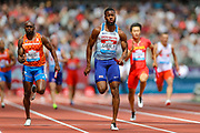 Nethaneel Mitchell-Blake of Great Britain & NI sprints to victory in the Men's 4x100m Relay during the Muller Anniversary Games 2019 at the London Stadium, London, England on 21 July 2019.