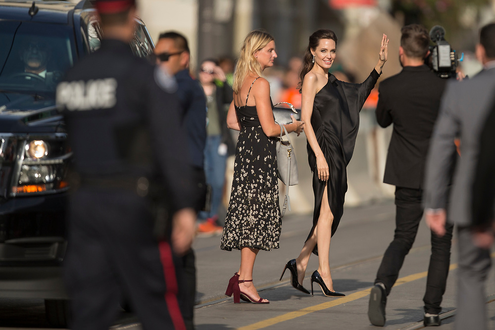 Angelina Jolie waves as she arrives for the premiere of 'First they Killed my Father' at the Toronto International Film Festival in Toronto, Ontario, September 11, 2017.