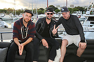 ANTIBES, FRANCE - OCTOBER 16: Matt Simons, James Newman and Jamie Hartman attend the Recording sessions at the Cross Creative lounge aboard the Bliss Yacht as part of Songwriting Invitational Group events on October 16, 2015 in Antibes, France. (Photo by Tony Barson/Getty Images for The Invitational Group)