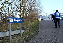 A Reading fan walks up Hoops Way - Photo mandatory by-line: Robbie Stephenson/JMP - Mobile: 07966 386802 - 10/03/2015 - SPORT - Football - Reading - Madejski Stadium - Reading v Brighton - Sky Bet Championship