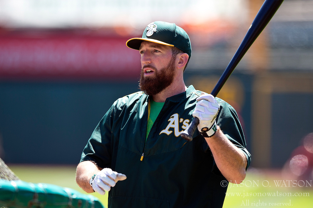 OAKLAND, CA - JUNE 21:  Ike Davis #17 of the Oakland Athletics holds a bat during batting practice before the game against the Los Angeles Angels of Anaheim at O.co Coliseum on June 21, 2015 in Oakland, California. The Oakland Athletics defeated the Los Angeles Angels of Anaheim 3-2. (Photo by Jason O. Watson/Getty Images) *** Local Caption *** Ike Davis