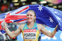 London, August 12 2017 . Sally Pearson, Australia, celebrates her world championship victory in the women's 100m hurdles final on day nine of the IAAF London 2017 world Championships at the London Stadium. © Paul Davey.