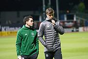 31st October 2018, Kilmac Stadium, Dundee, Scotland; Ladbrokes Premiership football, Dundee v Celtic; Lewis Morgan and Jack Hendry of Celtic