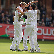 Stuart Broad takes a spectacular catch on the boundary to dismiss Simon Katich during the England V Australia  Ashes Test series at Lords, London, on Friday, July 17, 2009. Photo Tim Clayton.