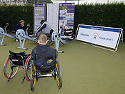 Queens Club, GREAT BRITAIN,   Rowing's, Shaun SEWELL, on the GB Rowing's Ergos area as a couple of lads try the sport,  before the  press Conference to announce the joint initiative between British Paralympic Association and Deloitte  of 'www.Parasport.org.uk' online information service, on Thur's.  03.05.2007. London. [Credit: Peter Spurrier/Intersport Images]