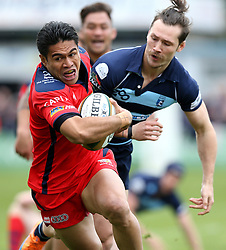 David Lemi left wing for Bristol Rugby runs with the ball on his way to scoring a try - Mandatory by-line: Robbie Stephenson/JMP - 23/04/2016 - RUGBY - Goldrington Road - Bedford, England - Bedford Blues v Bristol Rugby - Greene King IPA Championship