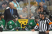 DALLAS, TX - OCTOBER 17:  Head coach Lindy Ruff of the Dallas Stars has words with an official against the San Jose Sharks on October 17, 2013 at the American Airlines Center in Dallas, Texas.  (Photo by Cooper Neill/Getty Images) *** Local Caption *** Lindy Ruff