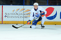 PENTICTON, CANADA - SEPTEMBER 9: Austin Glover #67 of Edmonton Oilers kneels on the ice during morning skate on September 9, 2017 at the South Okanagan Event Centre in Penticton, British Columbia, Canada.  (Photo by Marissa Baecker/Shoot the Breeze)  *** Local Caption ***