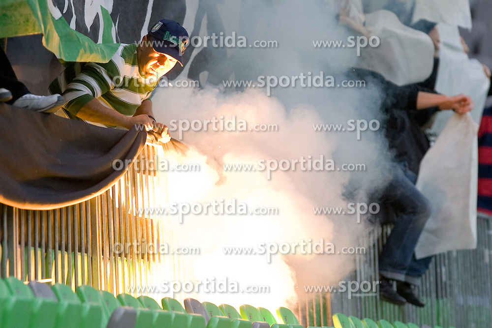 Green Dragons fan during the football match between NK Olimpija and NK Maribor, played in the 4th Round of Prva liga football league 2010 - 2011, on September 29, 2010, SRC Stozice, Ljubljana, Slovenia. (Photo by Matic Klansek Velej / Sportida)