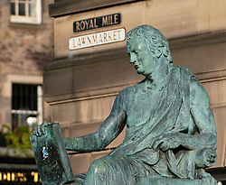 Statue of David Hume on the Royal Mile in Edinburgh Old Town, Scotland,UK