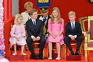 Queen Mathilde of Belgium and King Philippe - Filip of Belgium Prince Emmanuel, Crown Princess Elisabeth, Prince Gabriel and Princess Eleonore , Prince Lorenz of Belgium, Princess Astrid of Belgium, Princess Claire of Belgium and Prince Laurent of Belgium pictured during the military parade on the Belgian National Day pictured during the military parade on the Belgian National Day, , <br /> Brussels, 21 July 2015, Belgium<br /> Pics: Prince Emmanuel, Crown Princess Elisabeth, Prince Gabriel and Princess Eleonore