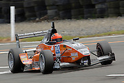The Toyota Racing Series car of Invercargill's Damon Leitch in qualifying for the NZ Grand Prix at the Fujitsu 200 at Manfeild Autocourse on 11 February 2012. The Fujitsu 200 is part of the New Zealand Premier Race Championship Series.