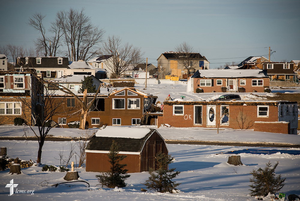 A damaged neighborhood in Washington, Ill., on Wednesday, Dec. 18, 2013. Nearly two dozen tornadoes plowed through Illinois in November, killing a total of seven. LCMS Communications/Erik M. Lunsford