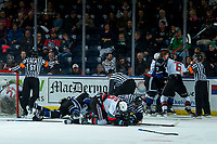 KELOWNA, BC - JANUARY 3:  The Victoria Royals drop the gloves with the Kelowna Rockets as the ice officials try to sort everyone out during second period at Prospera Place on January 3, 2020 in Kelowna, Canada. (Photo by Marissa Baecker/Shoot the Breeze)