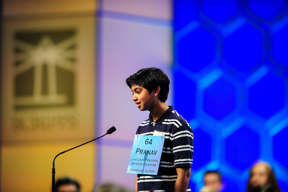 Pranav Sivakumar, 13, Tower Lakes, Illinois participates in the semifinals of the Scripps National Spelling Bee on May 30, 2013 at the Gaylord National Resort and Convention Center in National Harbor, Maryland.  UPI/Pete Marovich