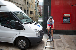 Team Russia rider warms up for the Durango-Durango Emakumeen Saria - a 113 km road race, starting and finishing in Durango on May 16, 2017, in the Basque Country, Spain.