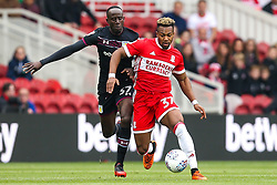 Adama Traore of Middlesbrough takes on Albert Adomah of Aston Villa - Mandatory by-line: Robbie Stephenson/JMP - 12/05/2018 - FOOTBALL - Riverside Stadium - Middlesbrough, England - Middlesbrough v Aston Villa - Sky Bet Championship