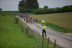 The chasing group approaches a sharp turn on Stage 2 of the Festival Elsy Jacobs - a 111.1 km road race, starting and finishing in Garnich on April 29, 2018, in Luxembourg. (Photo by Balint Hamvas/Velofocus.com)