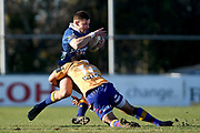 Hayden Todd of Otago gets caught by the defence during the Ranfurly Shield match between Otago and North Otago, held at Whitestone Contracting Stadium, Oamaru, New Zealand, 26 July 2019. Credit: Joe Allison / www.Photosport.nz