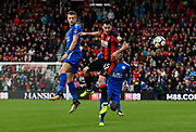 Jamie Vardy (9) of Leicester City battles for possession with Adam Smith (15) of AFC Bournemouth during the Premier League match between Bournemouth and Leicester City at the Vitality Stadium, Bournemouth, England on 30 September 2017. Photo by Graham Hunt.