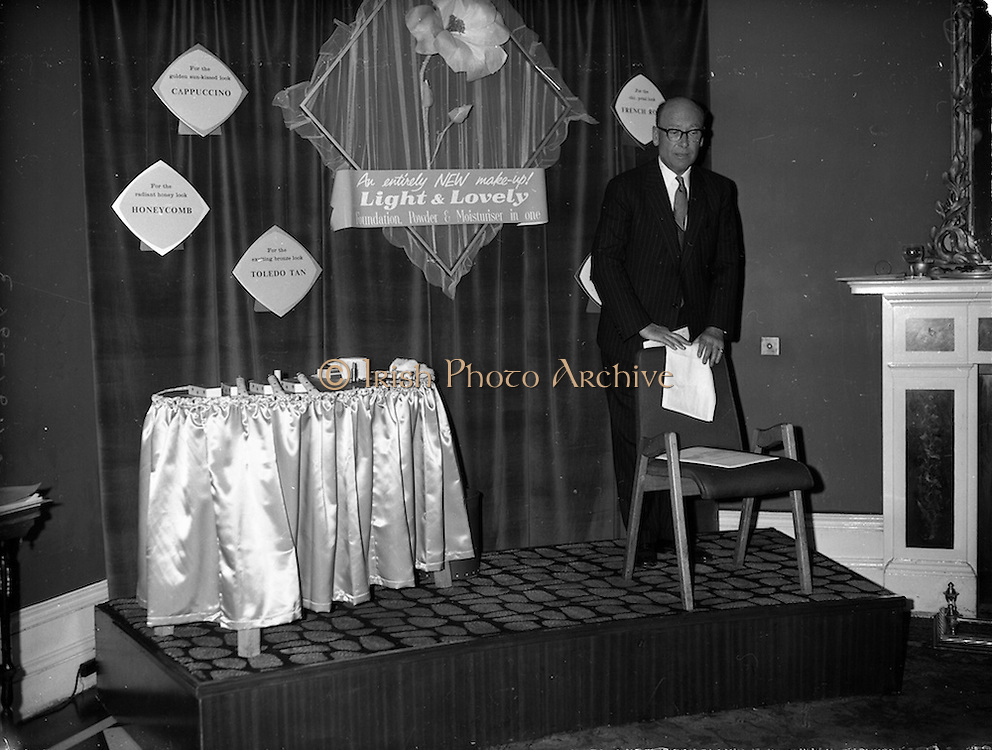 "07/06/1962<br /> 06/07/1962<br /> 07 June 1962 <br /> ""Light and Lovely"" new Coty Make-up range, reception at the Shelbourne Hotel, Dublin. Mr. N.R. Goodbody, Managing Director, Goodbody Ltd., speaking at the event."