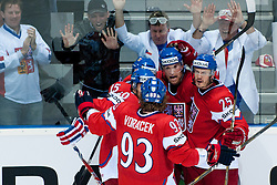 Team Czech Republic celebrate goal and fans in background during ice-hockey match between Czech Republic and Latvia of Group D of IIHF 2011 World Championship Slovakia, on April 30, 2011 in Orange Arena, Bratislava, Slovakia. (Photo by Matic Klansek Velej / Sportida)