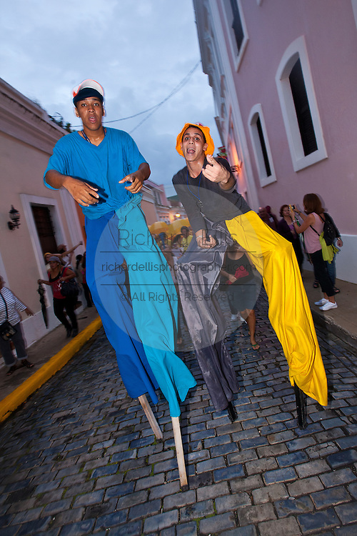 Stiltwalkers during the Festival of San Sebastian in San Juan, Puerto Rico.