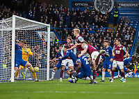 Football - 2019 / 2020 Premier League - Chelsea vs. Burnley<br /> <br /> Ross Barkley (Chelsea FC) clears the ball off the line as Burnley pressure for a goal at Stamford Bridge <br /> <br /> COLORSPORT/DANIEL BEARHAM