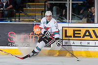 KELOWNA, CANADA - APRIL 4: Justin Kirkland #23 of Kelowna Rockets stops on the ice with the puck against the Kamloops Blazers on April 4, 2016 at Prospera Place in Kelowna, British Columbia, Canada.  (Photo by Marissa Baecker/Shoot the Breeze)  *** Local Caption *** Justin Kirkland;