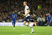 Harry Kane in action during the Premier League match between Tottenham Hotspur and Chelsea at Tottenham Hotspur Stadium, London, United Kingdom on 22 December 2019.