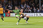 Forest Green Rovers Matty Stevens(9) shoots at goal during the EFL Sky Bet League 2 match between Cambridge United and Forest Green Rovers at the Cambs Glass Stadium, Cambridge, England on 7 September 2019.