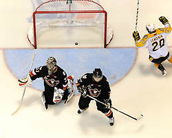 Aaron Lewadniuk of the Brandon Wheat Kings celebrates the overtime winning goal in the Semi-Final game at the 2010 MasterCard Memorial Cup in Brandon, MB on Friday May 21. Photo by Aaron Bell/CHL Images