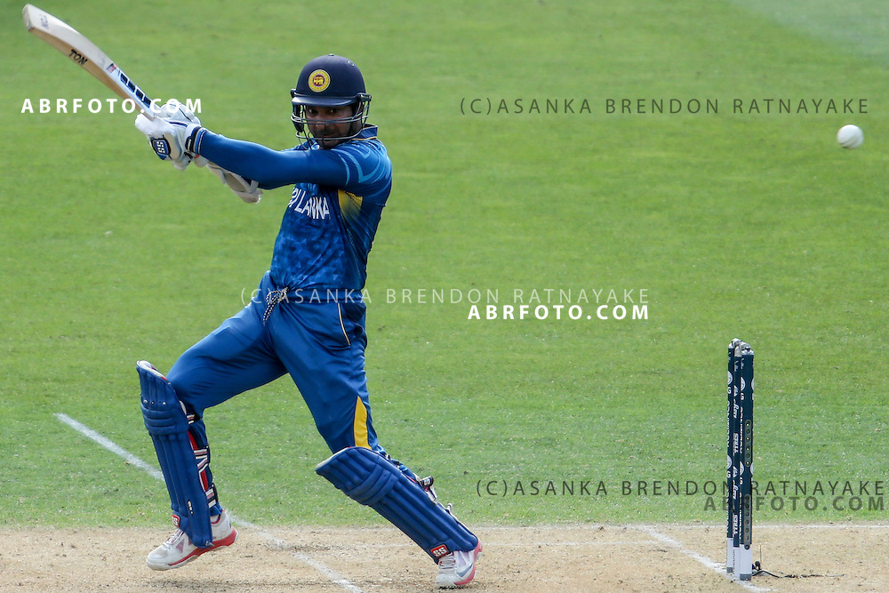 Kumar Sangakkara plays a cut shot during the 2015 ICC Cricket World Cup Pool A group match between England Vs Sri Lanka at the Wellington Regional Stadium, Wellington, New Zealand.