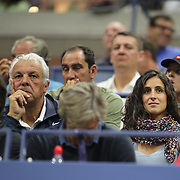 2017 U.S. Open Tennis Tournament - DAY TWO. Xisca Perello, partner of Rafael Nadal of Spain, watches his match against Dusan Lajovic of Serbia during the Men's Singles round one match at the US Open Tennis Tournament at the USTA Billie Jean King National Tennis Center on August 29, 2017 in Flushing, Queens, New York City.  (Photo by Tim Clayton/Corbis via Getty Images)