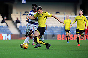Burton Albion defender Ben Turner (6) battles for possesion with Queens Park Rangers forward Idrissa Sylla (40) during the EFL Sky Bet Championship match between Queens Park Rangers and Burton Albion at the Loftus Road Stadium, London, England on 28 January 2017. Photo by Matthew Redman.