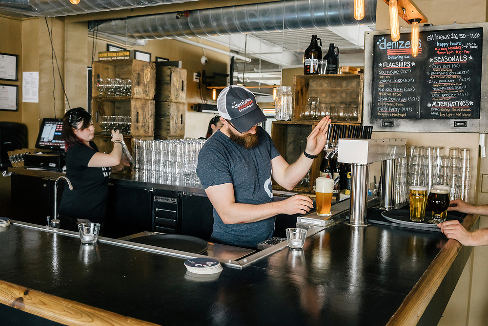 David Wilson serves beer at Denizens Brewing Co. in Silver Spring, Md. on April 5, 2017. Recent back-to-back vetoes of $15 minimum-wage bills in the liberal Maryland bastions of Baltimore and Montgomery County could signal a limit to such efforts. CREDIT: Greg Kahn / GRAIN for the Wall Street Journal MINWAGE