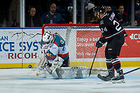 KELOWNA, CANADA - NOVEMBER 11: James Porter #1 of the Kelowna Rockets makes a save against the Red Deer Rebels on November 11, 2017 at Prospera Place in Kelowna, British Columbia, Canada.  (Photo by Marissa Baecker/Shoot the Breeze)  *** Local Caption ***