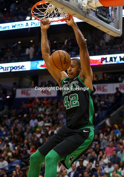 Mar 18, 2018; New Orleans, LA, USA; Boston Celtics forward Al Horford (42) dunks against the New Orleans Pelicans during the second half at the Smoothie King Center. Mandatory Credit: Derick E. Hingle-USA TODAY Sports