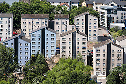 View of high rise social housing estate apartment buildings in central Edinburgh , Scotland, united Kingdom