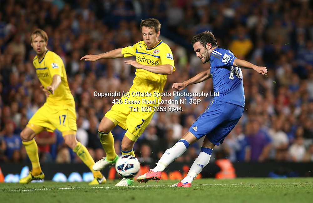 22 August 2012 Premier League football. Chelsea v Reading.<br /> Juan Mata shoots.<br /> Photo: Mark Leech.