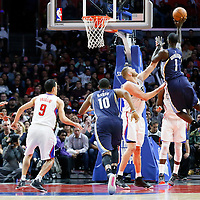 12 April 2016: Memphis Grizzlies forward Lance Stephenson (1) goes for the jump shot over Los Angeles Clippers center Cole Aldrich (45) and Los Angeles Clippers forward Jeff Green (8) during the Los Angeles Clippers 110-84 victory over the Memphis Grizzlies, at the Staples Center, Los Angeles, California, USA.