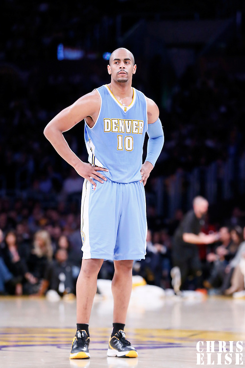 10 February 2015: Denver Nuggets guard Arron Afflalo (10) rests during the Denver Nuggets 106-96 victory over the Los Angeles Lakers, at the Staples Center, Los Angeles, California, USA.