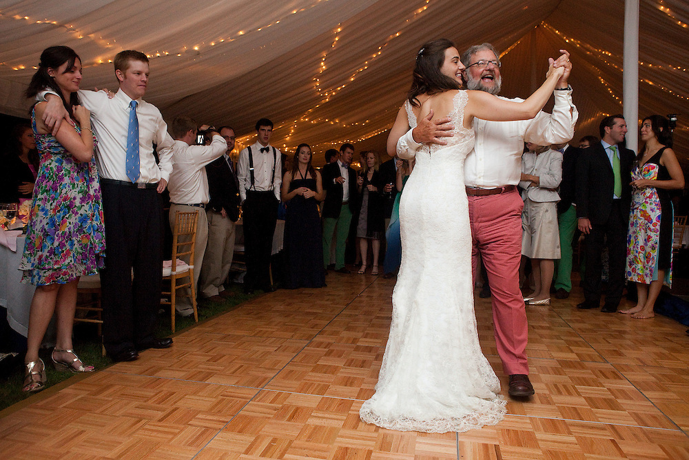 Ariana Rockefeller and her father David Rockefeller Jr. dance together at Ariana's wedding reception on Mount Desert Island, Maine, Saturday, September 4, 2010.  Craig Dilger for The New York Times