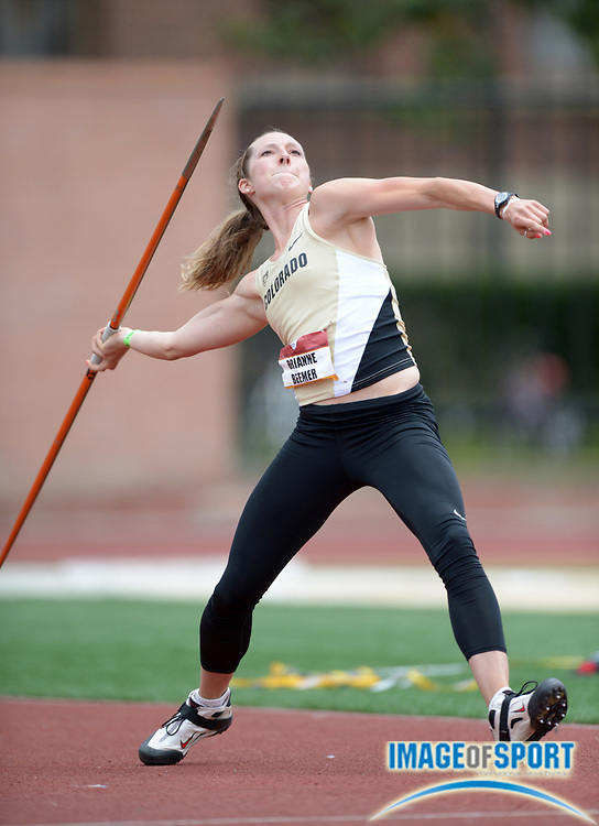 May 5, 2013; Los Angeles, CA, USA; Brianne Beemer of Colorado throws in the heptathlon javelin in the 2013 Pac-12 Championships at Cromwell Field.