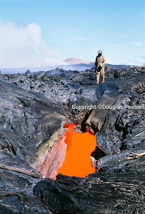 Skylight, Lava tube, Pu'u O'o Vent, Eruption, Kilauea Volcano, Island of Hawaii