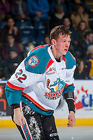KELOWNA, CANADA - JANUARY 4: Braydyn Chizen #22 of the Kelowna Rockets heads for the dressing room after dropping the gloves with Riley McKay #27 of the Spokane Chiefs on January 4, 2017 at Prospera Place in Kelowna, British Columbia, Canada.  (Photo by Marissa Baecker/Shoot the Breeze)  *** Local Caption ***