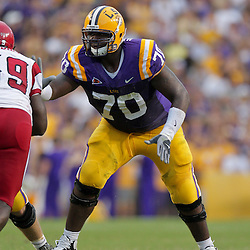 19 September 2009: LSU Tigers tackle Ciron Black (70) works against Louisiana-Lafayette Cajuns defensive tackle Tyrell Gaddies (99) during a 31-3 win by the LSU Tigers over the University of Louisiana-Lafayette Ragin Cajuns at Tiger Stadium in Baton Rouge, Louisiana.
