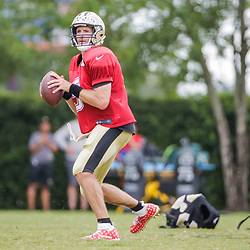 Jul 28, 2019; Metairie, LA, USA; New Orleans Saints quarterback Drew Brees (9) throws during training camp at the Ochsner Sports Performance Center. Mandatory Credit: Derick E. Hingle-USA TODAY Sports