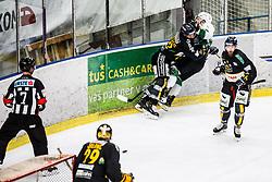 JEZOVSEK Zan of HK SZ Olimpija and Danny Elliscasis of HC Pustertal Wolfe during Ice Hockey match between HK SZ Olimpija and HC Pustertal Wolfe in 6th Final game of Alps Hockey League 2018/19, on April 19th, 2019, in Hala Tivoli, Ljubljana, Slovenia. Photo by Grega Valancic